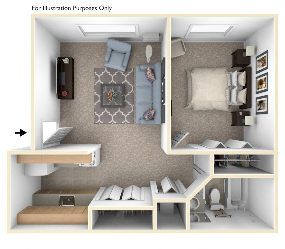 One Bedroom floor plan, top view